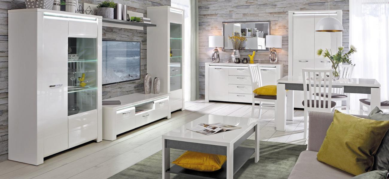 Białe meble do salonu - w połysku czy w macie?